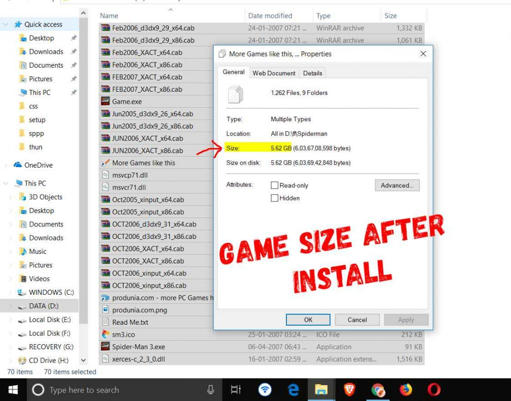 highly compressed game size after installation