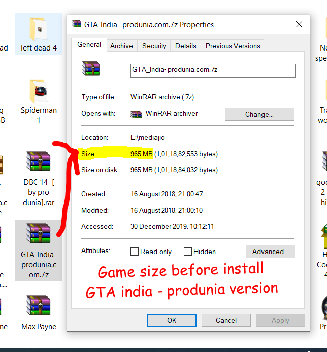 Game size before install - produnia version Grand theft auto india