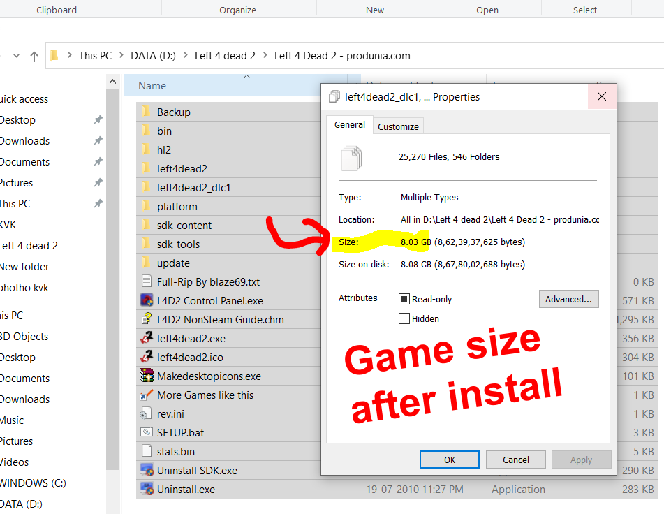 Left 4 dead 2 - Game size after install